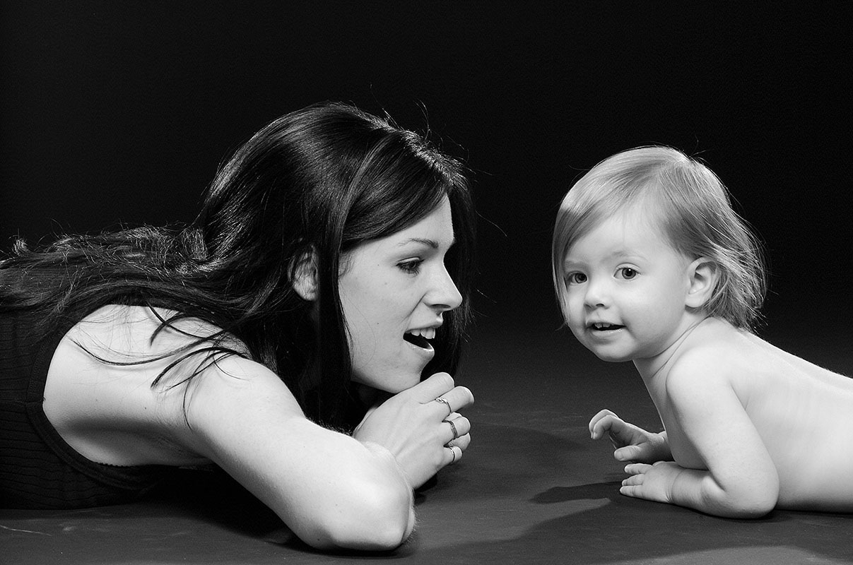 black and white image of mother and child